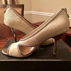 Tahari Burlap/Leather Peeptoe Heel
